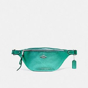 Coach Green metallic pebbled leather fanny pack